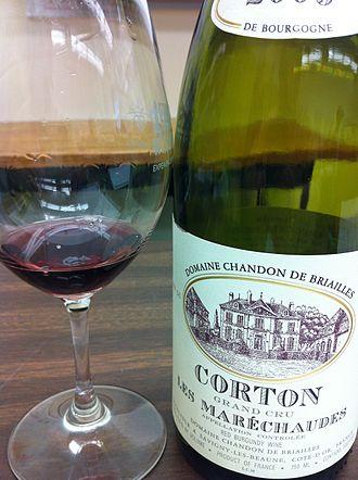 Corton (wine) - Corton wine from the Les Maréchaudes climat.