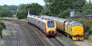 Wolverhampton–Shrewsbury line - Cosford loops with a measurement train waiting a path