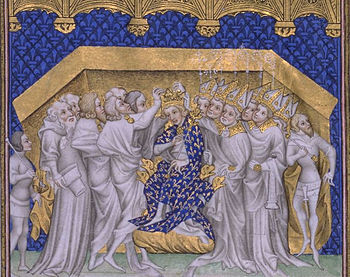 The coronation of Charles VI.  of France, Grandes Chroniques de France