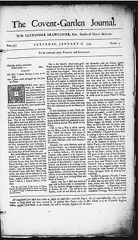 "Greyed page with text, titled ""The Covent-Garden Journal""."