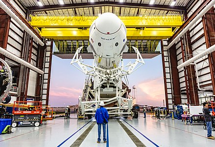 Falcon 9 launch vehicle and Dragon 2 spacecraft roll out of the hangar at Kennedy Space Center LC-39A