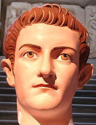 Caligula - A marble bust of Caligula restored to its original colours. The colours were identified from particles trapped in the marble.