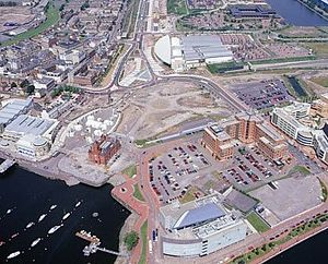 Wales Millennium Centre - Site of the proposed Cardiff Bay Opera House and later Wales Millennium Centre in the open space in the middle of the image