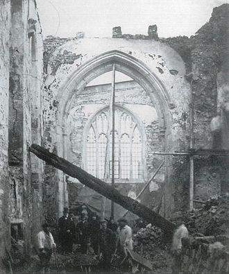 Croydon Minster - The ruins of the church, following its destruction by fire in 1867: a view of the north chancel aisle looking east