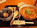 Curry udon and higawari donburi by shrk in Suita, Osaka.jpg