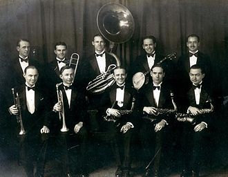 Dan Hornsby - Dan Hornsby (front row, second from left with a trumpet) with one of his bands