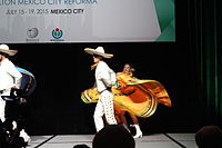 Dancing at the Wikimania 2015 Opening Ceremony IMG 7633.JPG