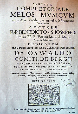 Benedictus Buns - Dedication of the Opus V to Count Oswald van Bergh.