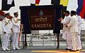 Defence Minister Arun Jaitely unveiling the commissioning plaque of INS Kamorta.jpg