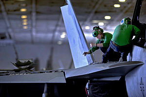Defense.gov News Photo 110224-N-2055M-235 - U.S. Navy Petty Officer 3rd Class Jessica Murphy assigned to Strike Fighter Squadron 22 performs maintenance on an F A-18F Super Hornet aircraft.jpg