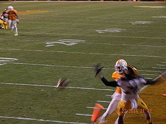 2014 Tennessee Volunteers football team - Maty Mauk's pass is deflected in the end zone.