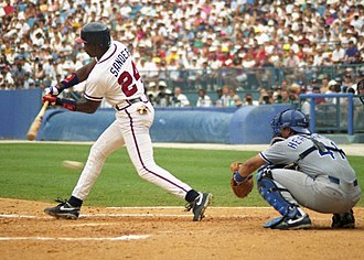 Deion Sanders - Sanders batting for the Braves in 1993.