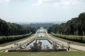 The view down the cascade towards the Palace of Caserta.