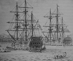 Drawing of the corvettes Descubierta and Atrevida