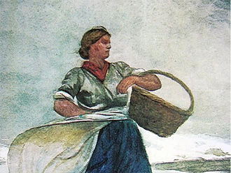 Cullercoats - Detail of a Cullercoats Fishlass, from Inside the Bar, by Winslow Homer 1883.