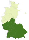 A map of Germany with the location of the 2. Bundesliga Süd highlighted