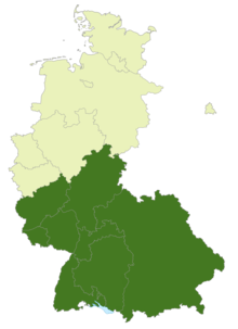 A map of West Germany and West Berlin with the location of the 2. Bundesliga Süd highlighted