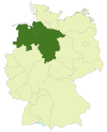 Map of Germany:Position of the Oberliga Niedersachsen/Bremen highlighted