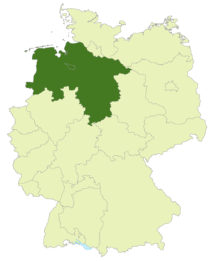 Oberliga Niedersachsen/Bremen - Map of Germany:Position of the Oberliga Niedersachsen/Bremen highlighted