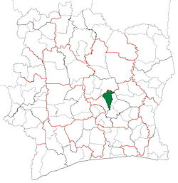 Location in Ivory Coast. Didiévi Department has retained the same boundaries since its creation in 2005.