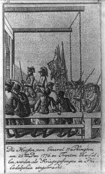 Die Hessen, vom General Washington am 25ten Dec. 1776, zu Trenton überfallen, werden als Kriegsgefangne in Philadelphia eingebracht.jpg