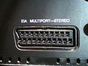 "Electronic Industries Alliance - SCART connector on an RCA Dimensia with the nomenclature ""EIA Multiport"""