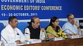 Dinesh Trivedi addressing the Economic Editors' Conference-2011, in New Delhi. The Minister of State for Railways, Shri K.H. Muniyappa, the Principal Director General (M&C), Press Information Bureau.jpg