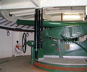 Taiaroa Head - Armstrong RBL 6-inch disappearing gun at  Taiaroa Head