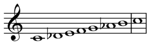Double harmonic scale - Image: Double harmonic scale on C