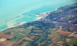 Dover Harbour viewed from a plane