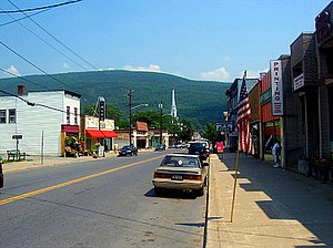 Downtown Ellenville, looking east along Canal Street (NY 52) toward the Shawangunk Ridge