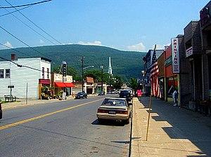 Ellenville, New York - Downtown Ellenville, looking east along Canal Street (NY52) toward the Shawangunk Ridge
