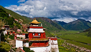 Tintin in Tibet - Drigung Monastery in the Himalayas of Tibet, similar to the Buddhist monastery depicted in the book