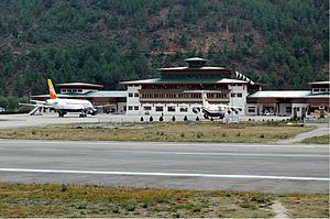 Druk Air - Drukair Airbus A319 and BAe 146 at Paro Airport in 2005.