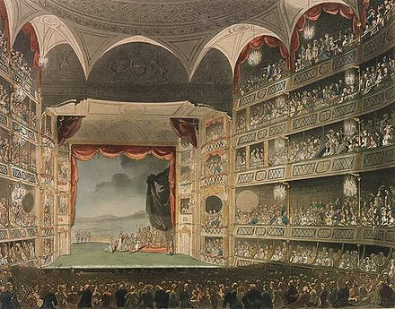 The interior of the third and largest theatre to stand at Drury Lane, c. 1808 Drury lane interior 1808.jpg