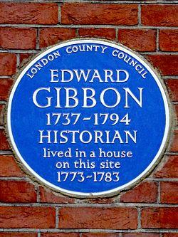 Photo of Edward Gibbon blue plaque