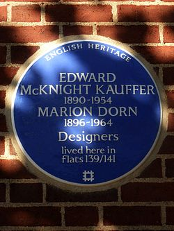 Edward mcknight kauffer 1890 1954 marion dorn 1896 1964 designers lived here in flats 139 141