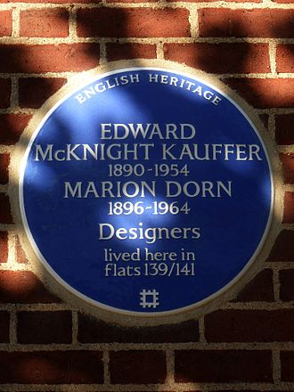 Edward McKnight Kauffer - Blue plaque erected in 2015 by English Heritage at Swan Court, Chelsea Manor Street, Chelsea, London SW3 5RY, Royal Borough of Kensington and Chelsea.