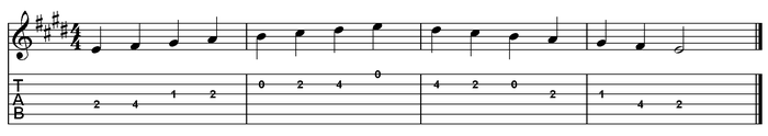 E major scale one octave (open position).png