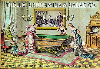 Cue sports - Women playing on an elaborately decorated green-covered table in an early 1880s advertising poster.