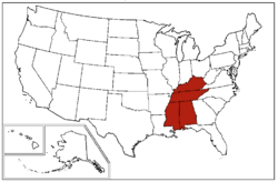 """A map of the United States Census Bureau Region 3, Division 6, """"East South Central"""", consisting of the states of Alabama, Kentucky, Mississippi, and Tennessee."""
