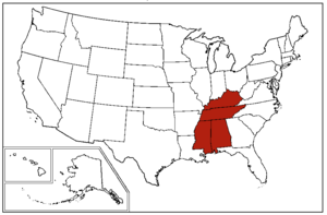 "East South Central States - A map of the United States Census Bureau Region 3, Division 6, ""East South Central"", consisting of the states of Alabama, Kentucky, Mississippi, and Tennessee."