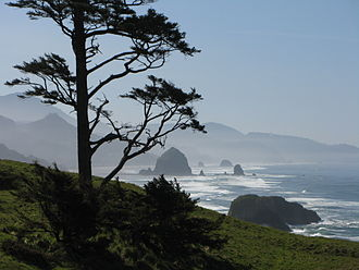 Lewis and Clark National and State Historical Parks - Southern view of the coast from Ecola State Park. Haystack Rock can be seen in the distance.