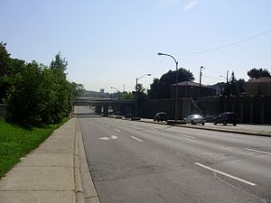 Eglinton Avenue - Eglinton Avenue West in York, west of Black Creek Drive.