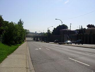 Eglinton Avenue - Eglinton Avenue West in York, west of Black Creek Drive.