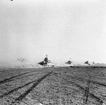 British tanks moving forwards through gaps in Axis minefields, cleared by Allied engineers and infantry, to engage German and Italian armour El Alamein 1942 - British tanks.jpg