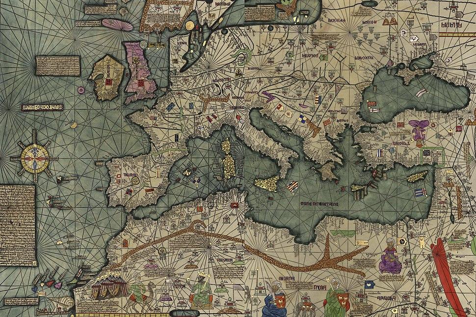 El mar Mediterráneo en el Atlas catalán de Cresques Abraham