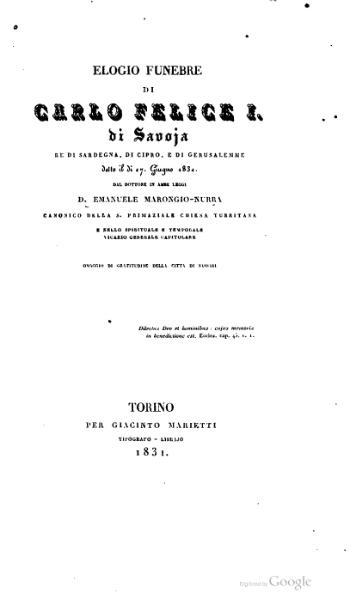 File:Elogio funebre di Carlo Felice I di Savoia (Marongiu Nurra).djvu