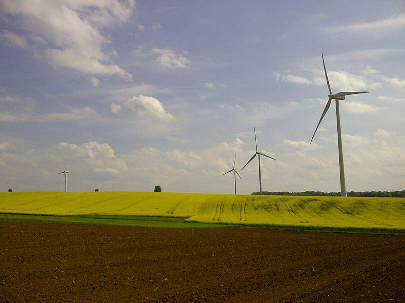 Le groupe des éoliennes du village d'Is-en-Bassigny