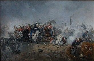 Battle of Schleswig - Captain Würtzen's dragoons recapture two Danish guns. Painting by Niels Simonsen.